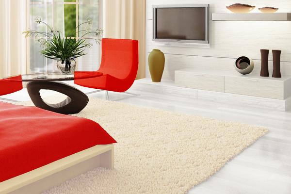 白×ベージュ×赤でまとめた部屋
