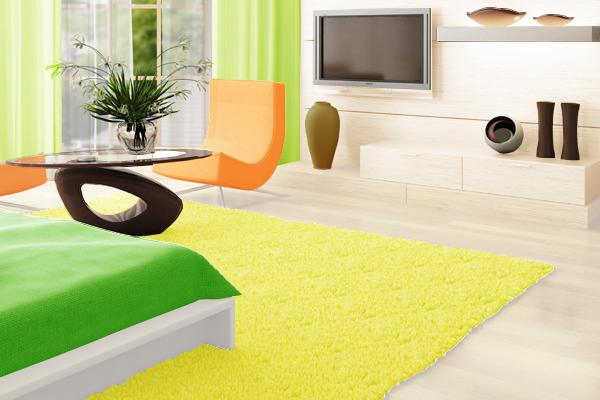 グリーン×オレンジでまとめた部屋