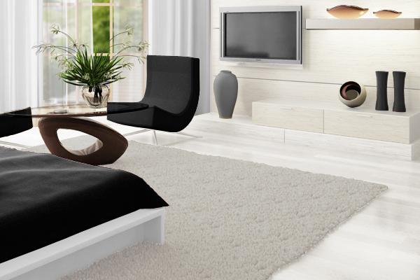 白×グレー×黒でまとめた部屋