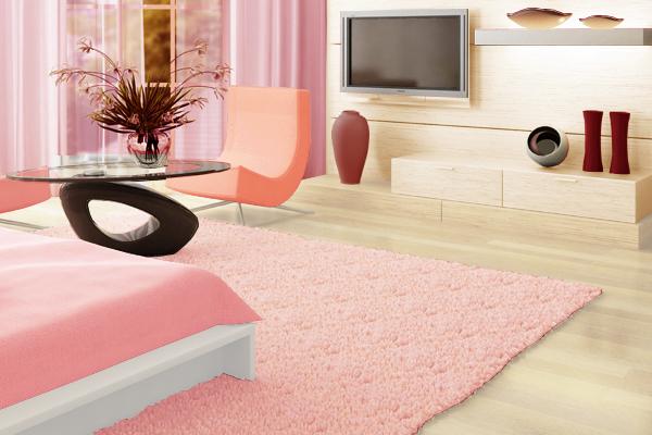 トーン違いのピンクでまとめた部屋