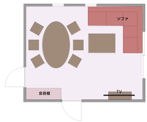 ダイニング→ソファへの移動がしやすいLDの平面図