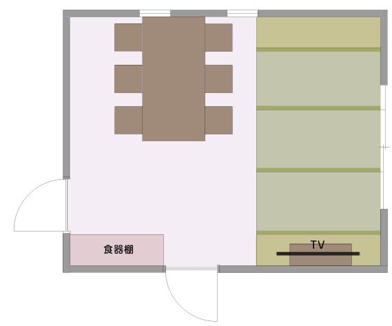 食べるとくつろぎを分離したLDの平面図