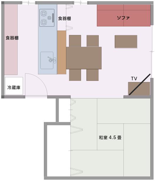 動線の繋がりが良い対面式キッチンタイプのLDKの平面図