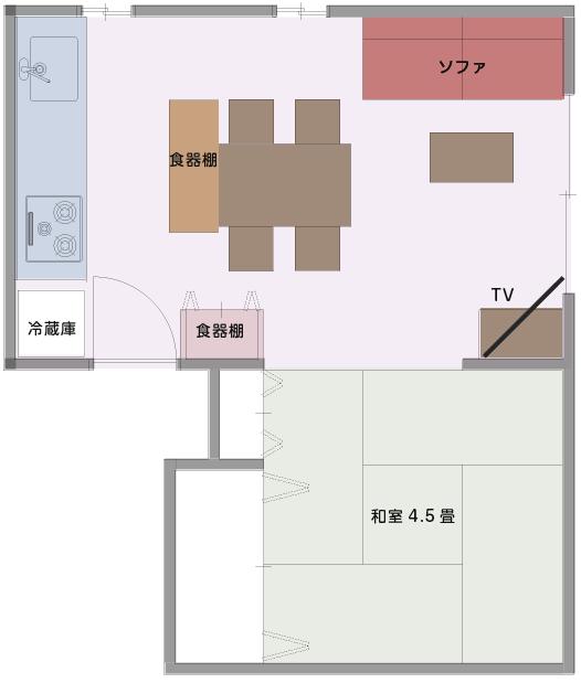 壁に面したキッチンのLDKの平面図