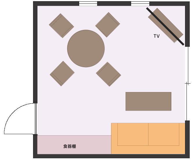 空間確保に注力したLDの平面図