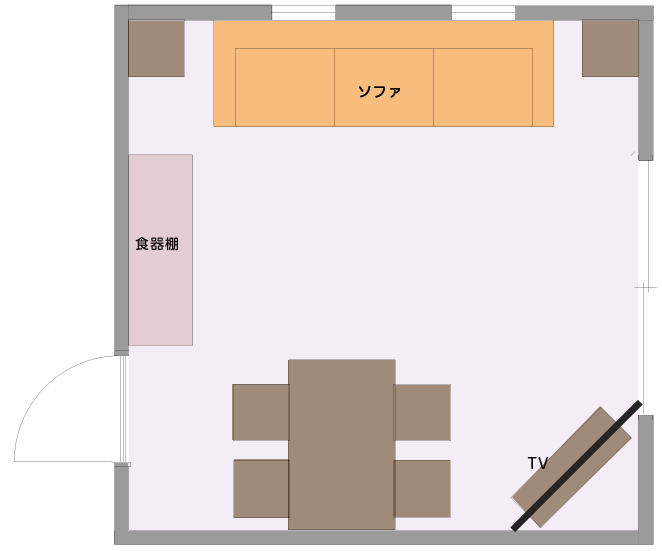 ソファ前に子供が遊べるスペースをとったLDの平面図
