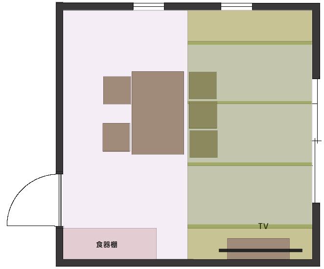 くつろげる畳スペースを作ったLDの平面図