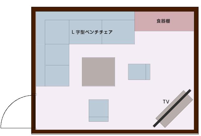 ダイニング兼くつろぎLDの平面図