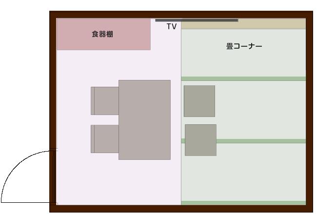 畳コーナーを使った有効的なLDの平面図