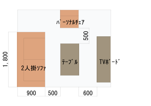 2人掛けソファとパーソナルチェアのレイアウトパターン図