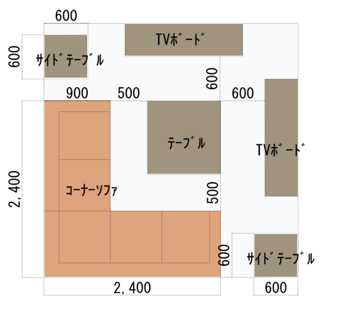 コーナーソファのレイアウトパターン図