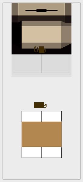 縦長リビングダイニングの家具レイアウト【パターン1】