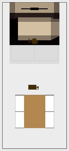 縦長リビングダイニングの家具レイアウト【パターン2】