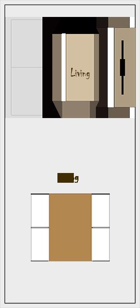 縦長リビングダイニングの家具レイアウト【パターン3】