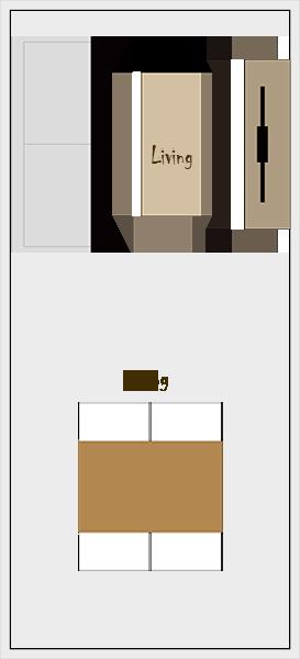 縦長リビングダイニングの家具レイアウト【パターン4】