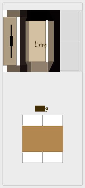 縦長リビングダイニングの家具レイアウト【パターン5】