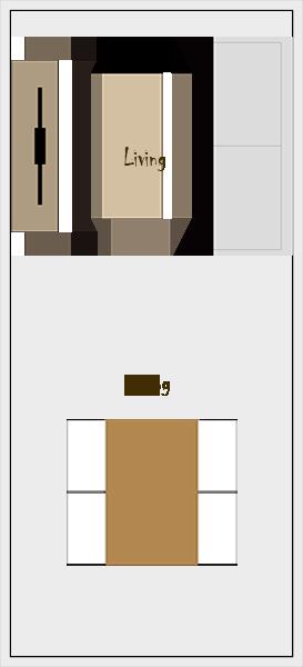 縦長リビングダイニングの家具レイアウト【パターン6】