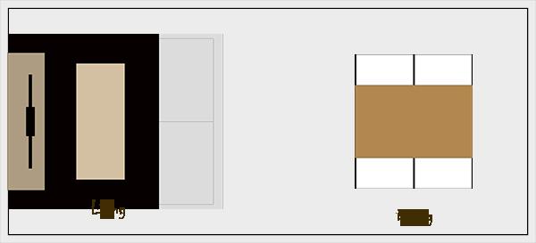 横長リビングダイニングの家具レイアウト【パターン1】