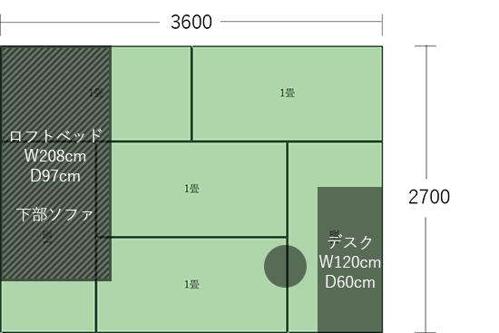 6畳(3600×2700)にデスク