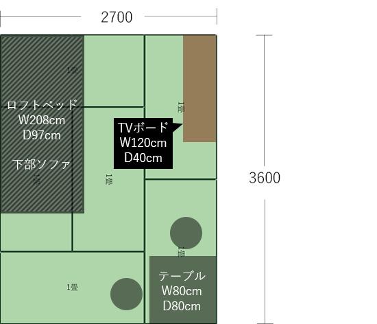 6畳(2700×3600)に2人掛けダイニング