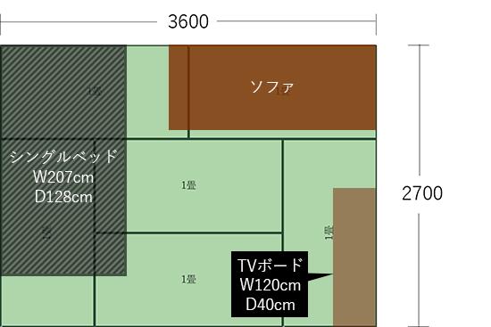6畳(3600×2700)にベッドとソファを横並びにした図
