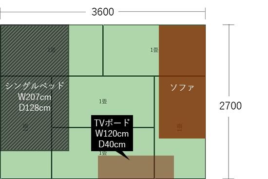 6畳(3600×2700)にベッドとソファを平行にした図