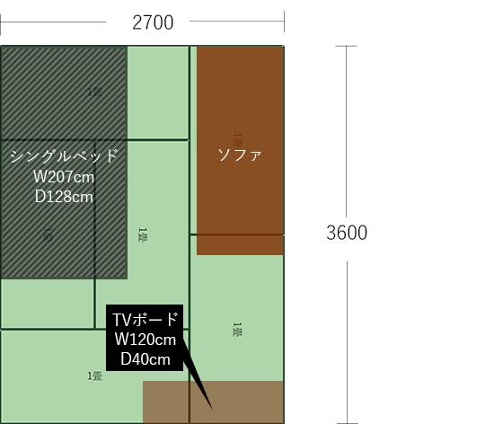 6畳(2700×3600)にベッドとソファを平行にした図