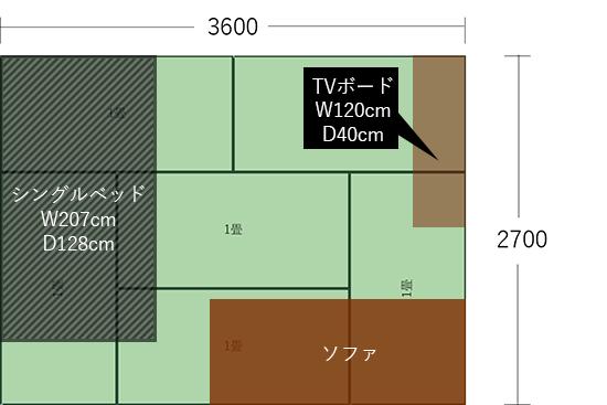 6畳(3600×2700)にベッドとソファをL字にした図