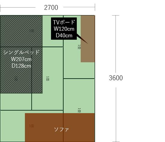 6畳(2700×3600)にベッドとソファをL字にした図