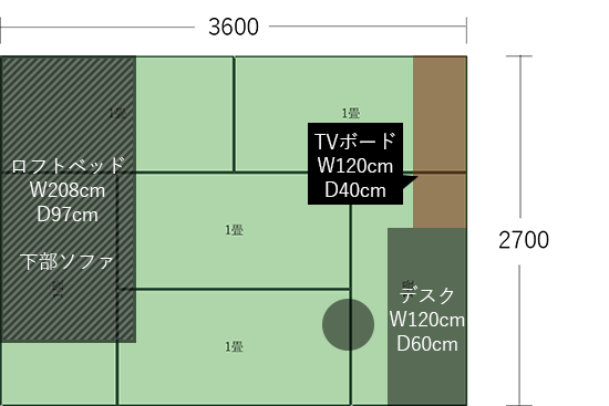 6畳(3600×2700)にデスクとTVボード