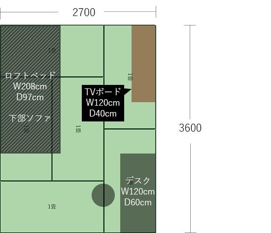 6畳(2700×3600)にデスクとTVボード
