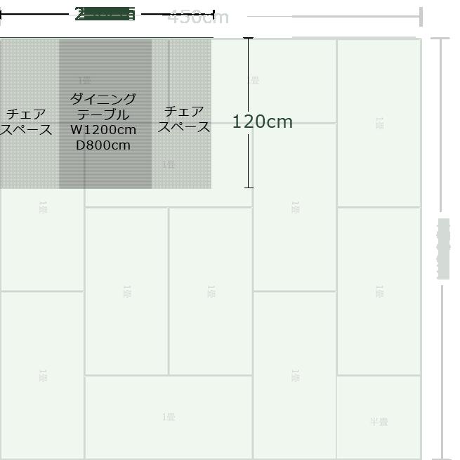 12畳正方形リビングダイニングのコーナーにダイニングスペースを作った例
