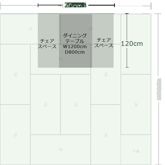 12畳正方形リビングダイニングの壁面の中央にダイニングスペースを作った例
