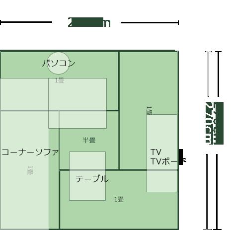 4.5畳正方形リビングのレイアウト5