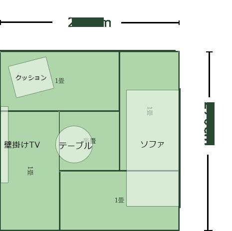 4.5畳正方形リビングのレイアウト例1