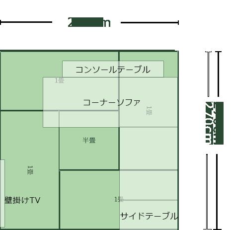 4.5畳正方形リビングのレイアウト2