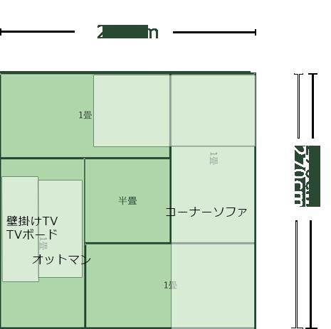 4.5畳正方形リビングのレイアウト3
