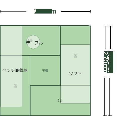 4.5畳正方形リビングのレイアウト4