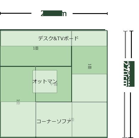 4.5畳正方形リビングのレイアウト6