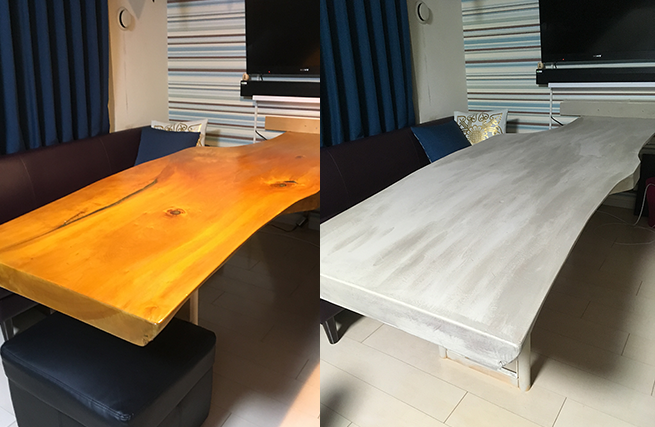 ダイニングテーブルを塗り替える前の写真と塗り替えた後の写真