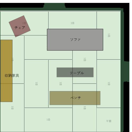 12畳正方形リビングの家具レイアウト①