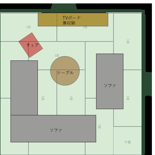 12畳正方形リビングの家具レイアウト⑩