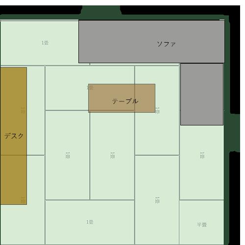 12畳正方形リビングの家具レイアウト⑪
