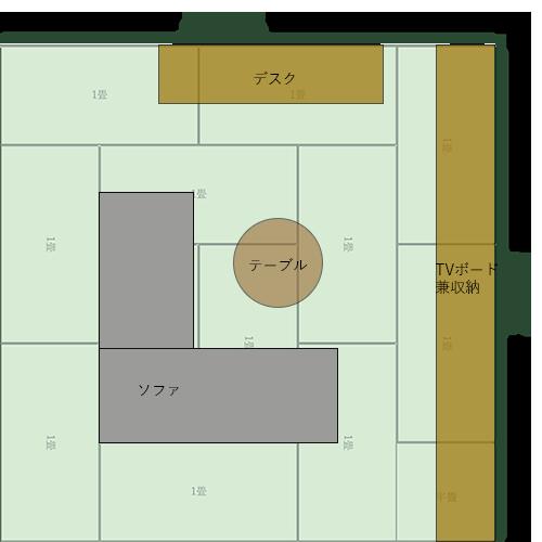 12畳正方形リビングの家具レイアウト⑬