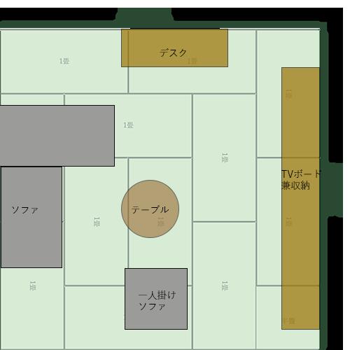 12畳正方形リビングの家具レイアウト⑭