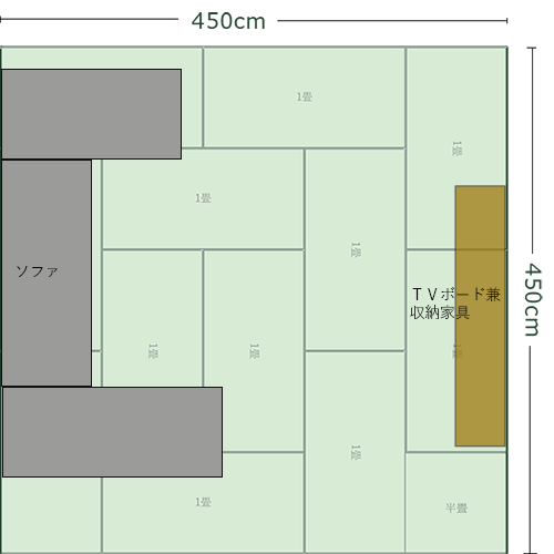 12畳正方形リビングの家具レイアウト②