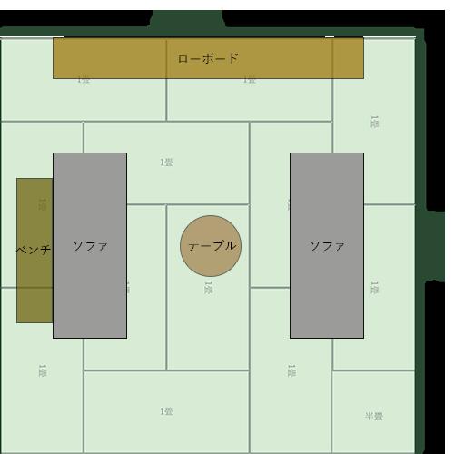 12畳正方形リビングの家具レイアウト③