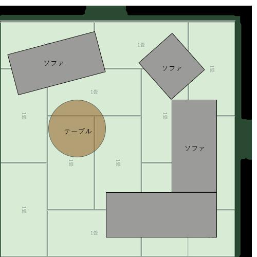 12畳正方形リビングの家具レイアウト⑥