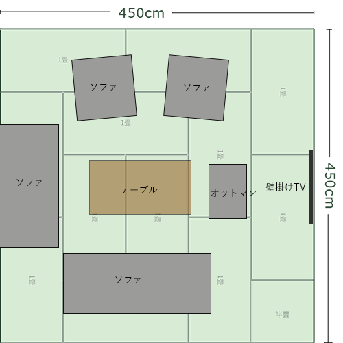 12畳正方形リビングの家具レイアウト⑦