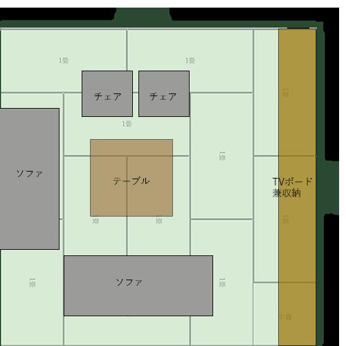 12畳正方形リビングの家具レイアウト⑧